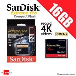 SanDisk Extreme Pro 16GB Compact Flash Memory Card 160MB/s for 4K Full HD DSLR Digital Cam