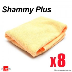 8 x Shammy Plus Microfibre Cleaning Cloth Towel for Car Wash and Home  40 x 40cm  Orange Colour