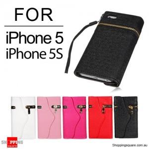 Zipper PU Leather Wallet Case for iPhone SE 5S 5 Black Colour