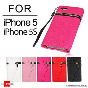 Zipper PU Leather Wallet Case for iPhone SE 5S 5 Pink Colour