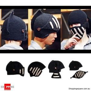 Unisex Roman Knight Ski Knit Crochet Mask Hat Beanie Black Colour