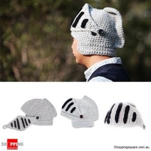 Unisex Roman Knight Ski Knit Crochet Mask Hat Beanie Gray Colour