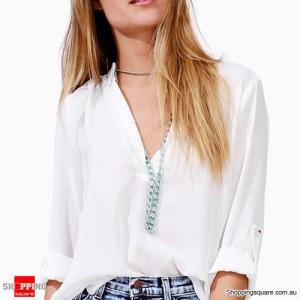 Women's Chiffon Long Sleeve Sexy V Neck T-Shirt White Colour Size 12