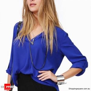 Women's Chiffon Long Sleeve Sexy V Neck T-Shirt Blue Colour Size 12