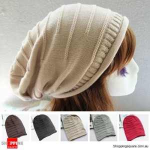 Unisex Women Men Warm Knitted Beanie Hat Cap Beige Colour