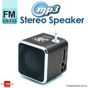 Mini MP3 Stereo Speaker Music Player with FM Radio Micro SD TF USB PC Black Colour