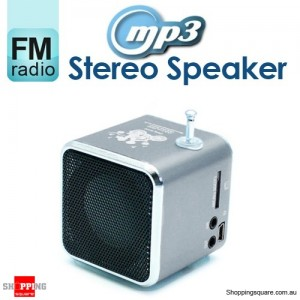 Mini MP3 Stereo Speaker Music Player with FM Radio Micro SD TF USB PC Silver Colour