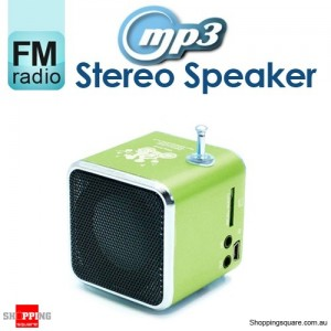 Mini MP3 Stereo Speaker Music Player with FM Radio Micro SD TF USB PC Green Colour