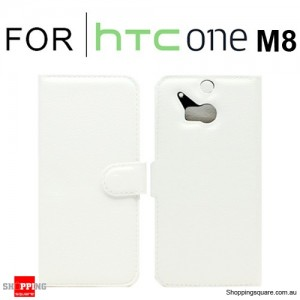 Wallet Leather Card Case Cover for New HTC ONE (M8) White Colour