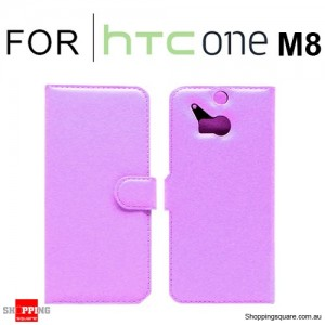 Wallet Leather Card Case Cover for New HTC ONE (M8) Purple Colour