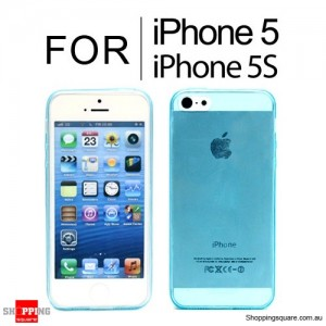Soft Transparent TPU Case Cover w/ Dust Plug for iPhone SE 5S 5 Blue Colour