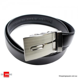 Men's Black Leather Belt w/ Silver Zinc Alloy Buckle