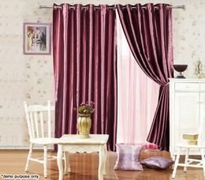 Pair of Eyelet Blockout Curtains - 135cm x 230cm, Metallic Maroon