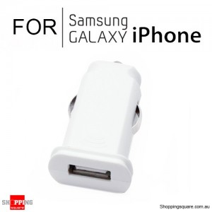 Flat Micro USB Car Charger 1A for iPhone Samsung Galaxy White Colour