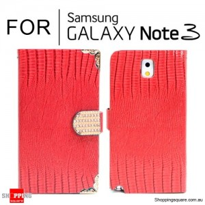 Diamond Bling Wallet Leather Case Cover for Samsung Galaxy Note III N9000 Red Colour