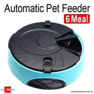 Automatic Pet Feeder Dog Cat AUTO Digital Food Bowl 6 Meal With LCD Dispenser Blue Colour