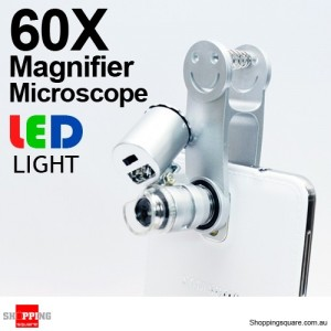 Mini 60X Magnifier Microscope Clip w/ LED Light for iPhone Samsung Galaxy Smartphone