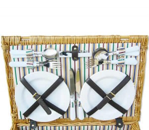 Deluxe Wicker Picnic Basket Set - 4 Person