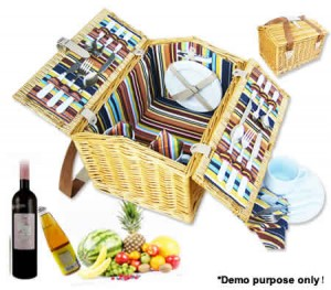 4 Person Deluxe Bi-Fold Wicker Picnic Basket Set - Plates / Cups / Knives / Forks / Spoons / Napkins