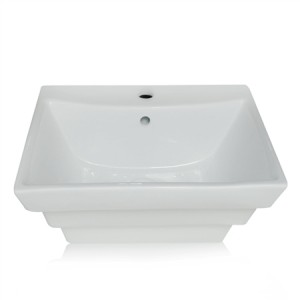 Rectangle Ceramic Vessel Sink with Pop-up Basin Waste