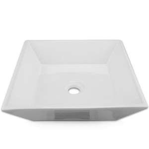 Square Ceramic Vessel Sink with Pop-up Basin Waste