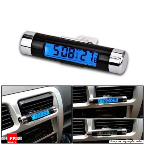 Car Clip-on LED Backlight Automotive Digital Thermometer Clock Calendar