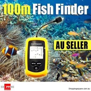 Portable LCD Fish Finder Solar Sensor Depth Sounder Alarm 100M Transducer