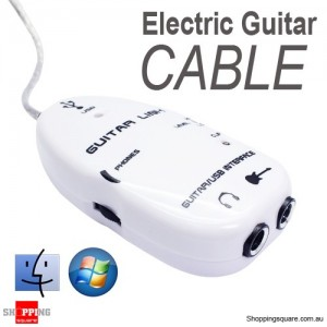 Electric Guitar to USB Interface Link Audio Cable For PC Mac White Colour