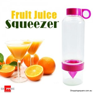 Fruit Press Juicer Citrus Lemon Orange Juicing Infuser Bottle Pink Colour