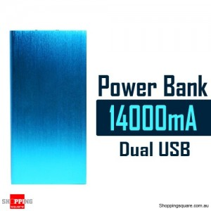 14000mAh Aluminum Ultra Slim Universal Dual USB Port Power Bank Rechargeable Battery Blue Colour