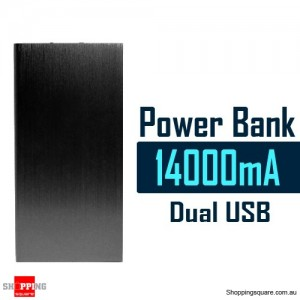 14000mAh Aluminum Ultra Slim Universal Dual USB Port Power Bank Rechargeable Battery Black Colour