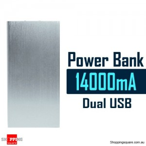 14000mAh Aluminum Ultra Slim Universal Dual USB Port Power Bank Rechargeable Battery Silver Colour