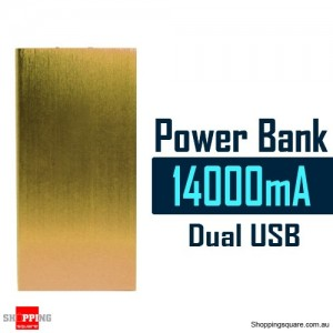 14000mAh Aluminum Ultra Slim Universal Dual USB Port Power Bank Rechargeable Battery Gold Colour