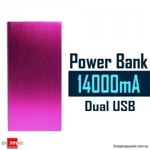 14000mAh Aluminum Ultra Slim Universal Dual USB Port Power Bank Rechargeable Battery Pink Colour
