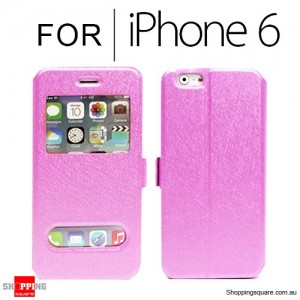 Double Window Flip Case Cover for iPhone 6S/6 4.7 inches Light Pink Colour