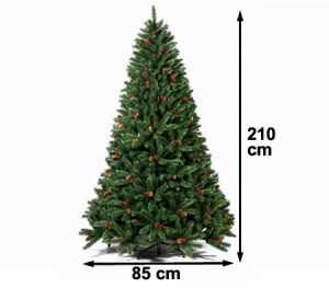 210cm Artificial Christmas Tree with Pine Cones and Berries
