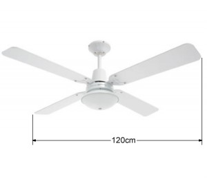 Heller Maxwell 1200mm Reversible 4 Blade Ceiling Fan with Oyster Light - White or Cherrywood