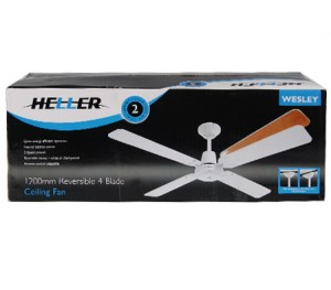 Heller Ceiling Fan - Wesley 1200mm Reversible 4 Blade - White or Cherrywood