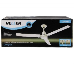 Heller Logan 1200mm 3 Blade Brushed Stainless Steel Ceiling Fan - White[Logan]