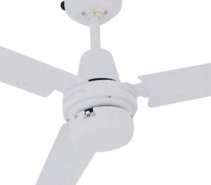 Ceiling Fan - Heller Logan 1200mm 3 Blade Brushed Stainless Steel - White