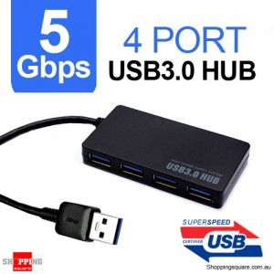 Ultra-thin USB 3.0 4 Port HUB Super Speed 5Gbps for PC Notebook Mac Black Colour