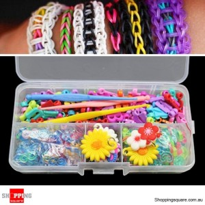 Rubber Ornaments + English Character + S-Clips + C-Clips + Hooks + Box DIY Loom Kit for Rainbow Rubber Band