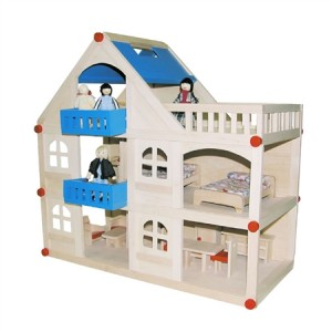 Wooden Modern Dolls House with Dolls