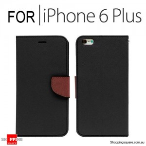 Leather Wallet Flip Case Cover For iPhone 6 Plus/6S Plus 5.5 inches Black + Brown Colour