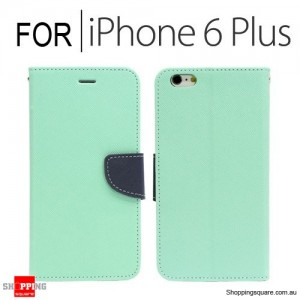 Leather Wallet Flip Case Cover For iPhone 6 Plus/6S Plus 5.5 inches Light Green + Dark Blue Colour