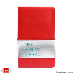 Mini Diary Notebook with Charming Smile Face Red Colour