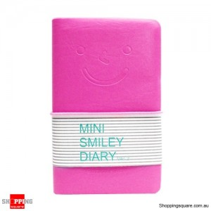 Mini Diary Notebook with Charming Smile Face Pink Colour