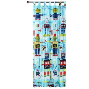 Glow in the Dark Robot Workshop Tab Top Curtains
