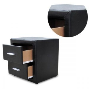 PU Leather Bedside Table with 2 Drawers - Black