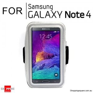 Sports Armband Case for Samsung Galaxy Note 4 Silver Colour